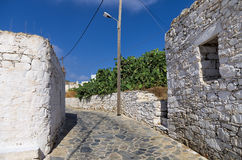 Street in Iraklia island, Cyclades, Greece Stock Images