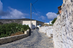 Street in Iraklia island, Cyclades, Greece Royalty Free Stock Images