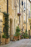 Street in the Italian town of Pienza. Stock Image