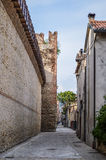 Street in the Italian Walled City of Soave with Crenellated Towers and Walls. Stock Photos