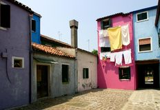 Street in Italy. Colorful street of Burano,Italy Royalty Free Stock Images