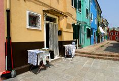 Street in Italy. Colorful street of Burano at Italy Stock Photo