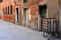 Street in Italy, Venice. A street in Venice, red Royalty Free Stock Images