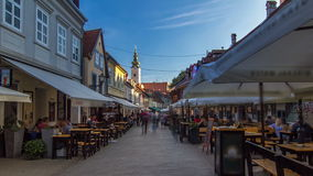 Street ivana racica timelapse hyperlapse in croatian capital zagreb is during sunny day in summer. ZAGREB, CROATIA