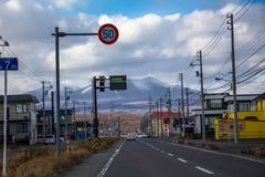 Street in Japan countryside stock photo