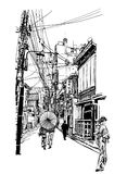 Street in Japan. Vector illustration japanese caracters are fake - no meaning vector illustration