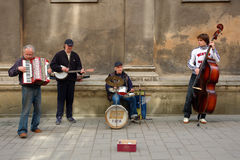 Street Jazz Band. Lviv, Ukraine - May 09, 2008. Street Jazz Band performs for tourists and all jazz fans on Easter day Royalty Free Stock Photography