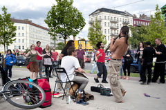 Street jazz band. And people dancing in Berlin, Germany Royalty Free Stock Images