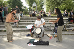Street jazz band. People enjoy the music of a street jazz band in Berlin on June 10, 2012 Stock Photos