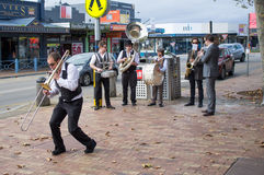Street Jazz Band performing on Mornington streets Royalty Free Stock Photo