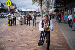 Street Jazz Band performing on Mornington streets Royalty Free Stock Images