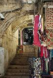 Souvenir shops selling traditional goods at Jerusalem, Israel stock image