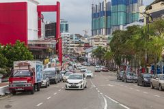 Street in Johor Bahru Malaysia. Johor Bahru, Malaysia - 21 June 2017. Jalan Ungku Puan is a street in Johor Bahru, Johore, Malaysia stock photos