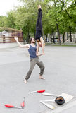 Street juggler performers Vienna Royalty Free Stock Photo