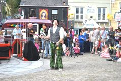 Street juggling entertainment. Street entertainer juggling at the Art festival Clifden,Co.Galway,Ireland Royalty Free Stock Photos