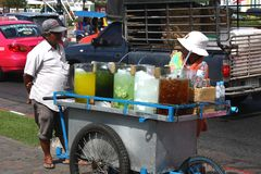 Street juice vendor in bangkok Royalty Free Stock Photo