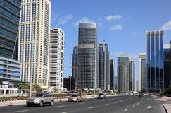 Street at Jumeirah Lakes Towers, Dubai Stock Photography