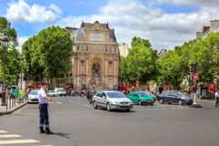 Street junction at Saint-Michel in Paris, France. Stock Photos