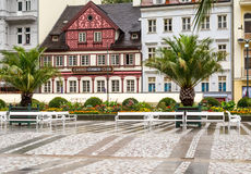 Street in Karlovy Vary in Czech Republic in the summer. Royalty Free Stock Image