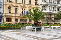 Street in Karlovy Vary in Czech Republic in the summer. Stock Photos