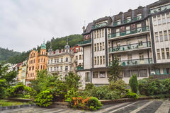Street in Karlovy Vary in the summer, Czech Republic Royalty Free Stock Photography