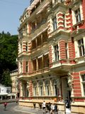 Street in Karlovy Vary 3. In the 19th century, it became a popular tourist destination, especially known for international celebrities visiting for spa treatment royalty free stock photography