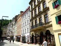 Street in Karlovy Vary. In the 19th century, it became a popular tourist destination, especially known for international celebrities visiting for spa treatment Royalty Free Stock Photography