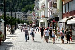 Street in Karlovy Vary 2. In the 19th century, it became a popular tourist destination, especially known for international celebrities visiting for spa treatment Royalty Free Stock Photos