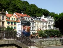 Street in Karlovy Vary. In the 19th century, it became a popular tourist destination, especially known for international celebrities visiting for spa treatment royalty free stock images