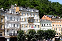 Street in Karlovy Vary - Carlsbad. In the 19th century, it became a popular tourist destination, especially known for international celebrities visiting for spa Stock Photo