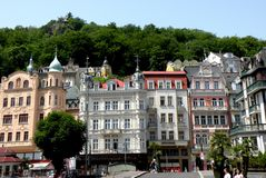 Street in Karlovy Vary 12. In the 19th century, it became a popular tourist destination, especially known for international celebrities visiting for spa Royalty Free Stock Photos