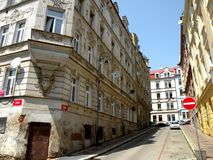 Street in Karlovy Vary 19. In the 19th century, it became a popular tourist destination, especially known for international celebrities visiting for spa Stock Image