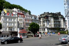 Street in Karlovy Vary - Carlsbad. In the 19th century, it became a popular tourist destination, especially known for international celebrities visiting for spa Stock Image