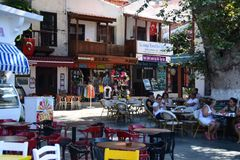 Street in Kaş with traditional houses, Turkey Stock Images