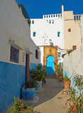 Street of Kasbah of the Udayas in Rabat, Morocco. Stock Photos