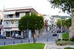 Street in Kavala city stock photos