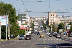 Street in Kharkiv. Kharkiv, Ukraine - June 5, 2017: Street in Kharkiv. View towards the city center Stock Photography