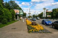 Street of Kiev city near the zoo. Ukraine. August 2008 stock photos