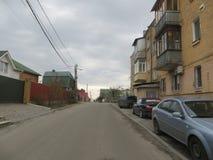 Street in Kiev. Brick houses, Ukraine country Stock Photo