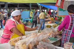 Street kitchen in Ecuador, Equatorians sell food, national snacks from corn, grill, popcorn, fried corn. Fried bananasSelling chic royalty free stock images