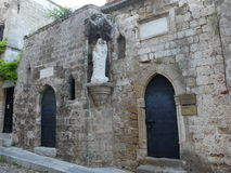 The Street Of The Knights. Historic stone building on the street of the Knights in the historic part of Rhodes fortress Stock Photography
