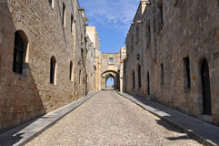 Street of the Knights,island Rhodes. In the medieval town of Rhodes, the city of the Knights of the Order of St. John, you feel that time has stopped in another Royalty Free Stock Photo