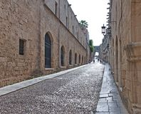 Street of the Knights in medieval town of Rhodes Stock Photography