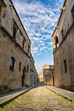 Street of Knights, Rhodes, Greece. The Street of the Knights on a beautiful day, Rhodes island, Greece Royalty Free Stock Photography