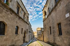 Street of Knights, Rhodes, Greece. The Street of the Knights on a beautiful day, Rhodes island, Greece Stock Photography