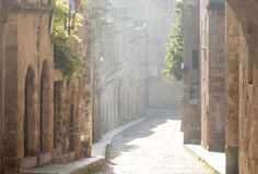 Street of the knights in Rhodes, Greece Stock Photos