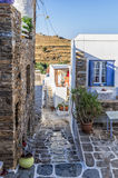 Street in Kythnos island, Cyclades, Greece Stock Images