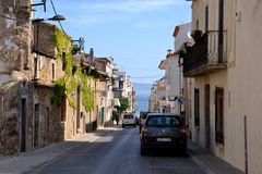 Street in L'Escala, Costa Brava, Spain Royalty Free Stock Photography