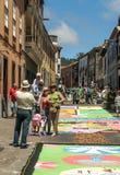 Street of La laguna with flower carpets Royalty Free Stock Image