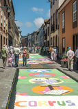 Street of La laguna with flower carpets. Street Spanish city of La Laguna on the island of Tenerife, with people visiting the carpets of flowers and sand on a Royalty Free Stock Photos